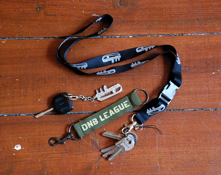 key holders, laynards | design: dnb league | black long, green short, metal 3D |